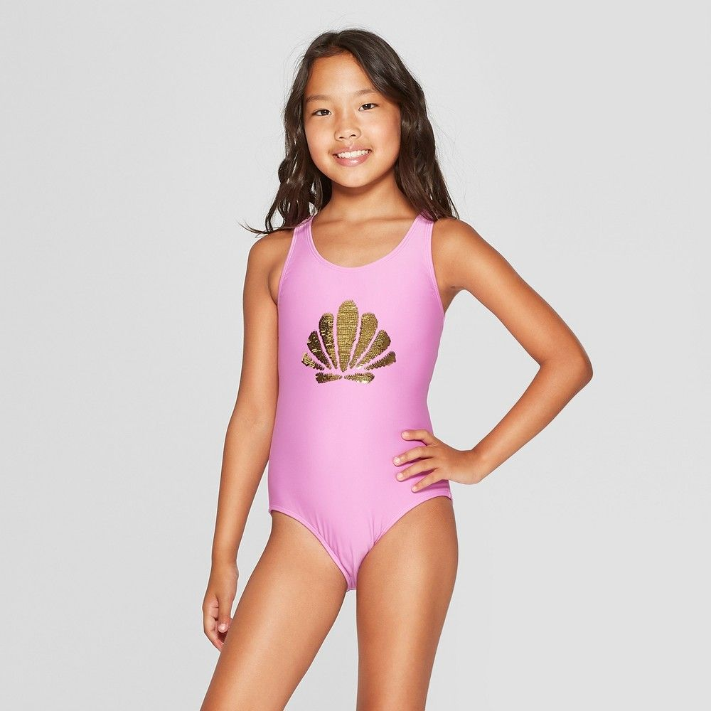 43a96dfd453 Brighten her swim wardrobe with this Shell Dreams Purple One-Piece Swimsuit  from Cat and Jack. This girls' one-piece swimsuit comes in a vibrant purple  ...