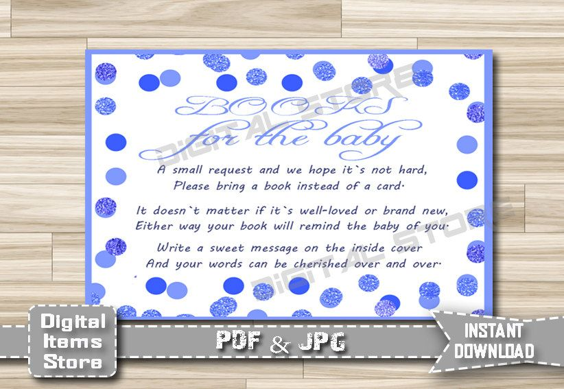 Bring a Book Instead of a Card - Invitation Insert Card Polka Dots - Insert Card Blue Dots - Invitation Insert Card - INSTANT DOWNLOAD by DigitalitemsShop on Etsy