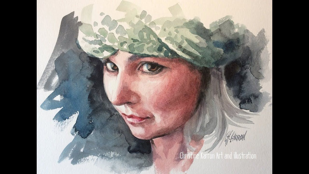 Watercolour Portrait Real Time Painting Demo By Ch Karron