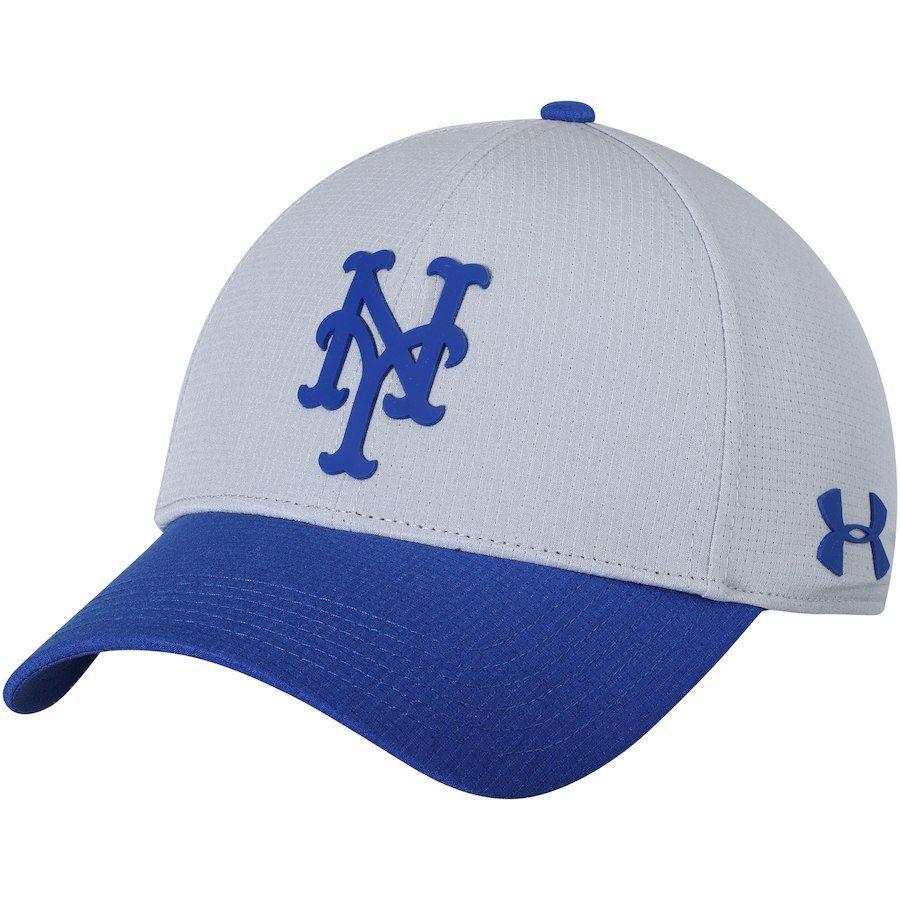 Men s New York Mets Under Armour Gray MLB Driver Cap 2.0 Adjustable ... 7a773048995c