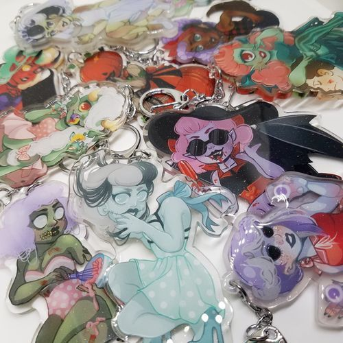 Monster Girls OC Glitter Keychains