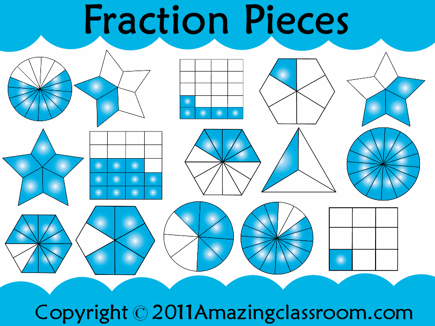Over 100 images (clipart) of fraction pieces to use on any ...