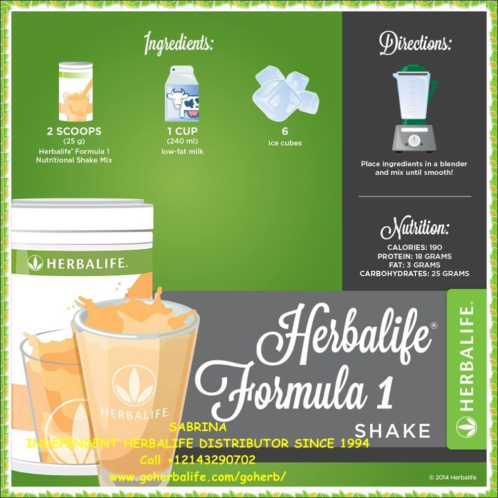 Enjoy Your Herbalife Formula 1 Protein Healthy Meal Shake Try A Different Recipe Every Day High In Nutrie Herbalife Herbalife Nutrition Facts Herbalife Shake