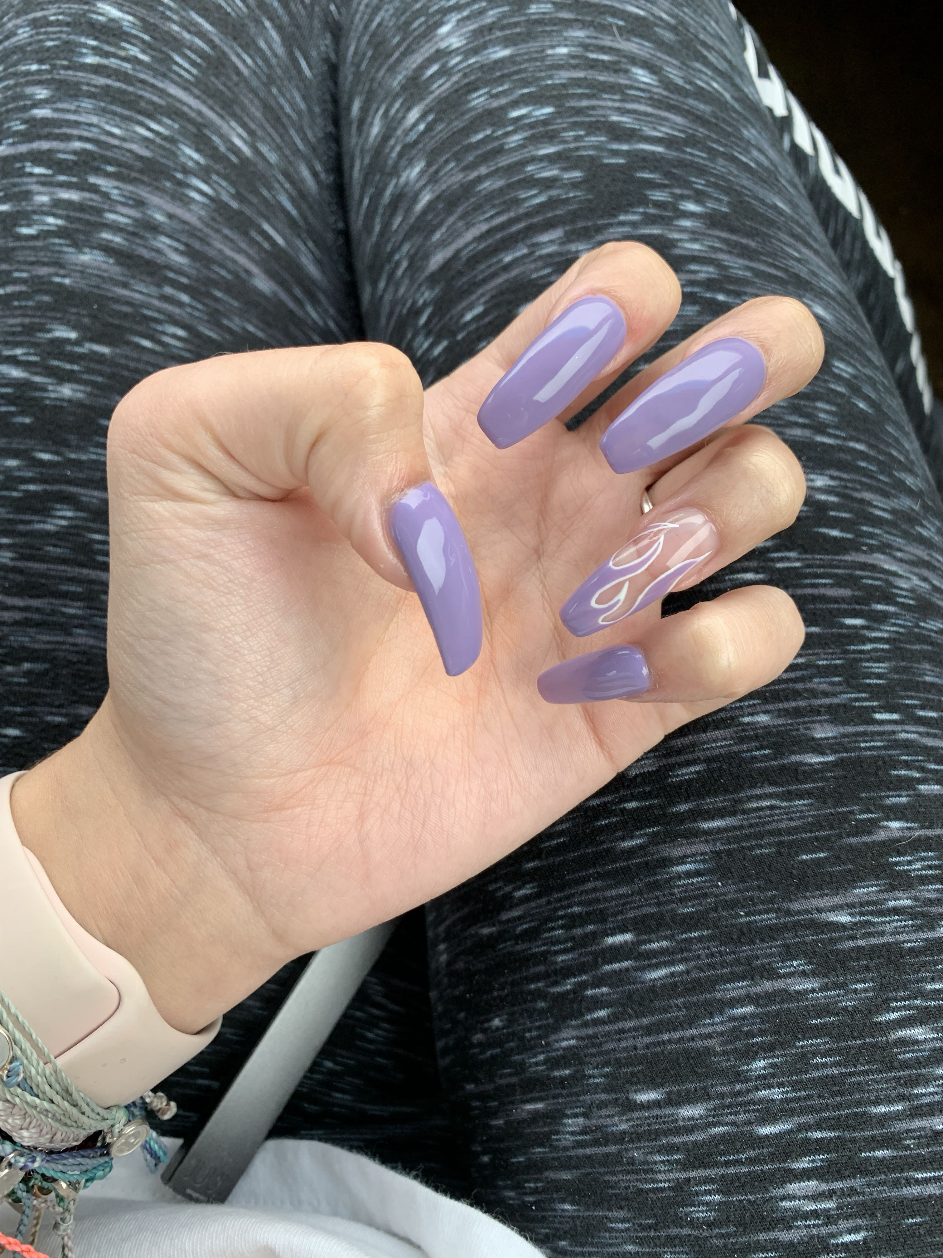 purple gel and flames #acrylic #purple #flames | Purple ...