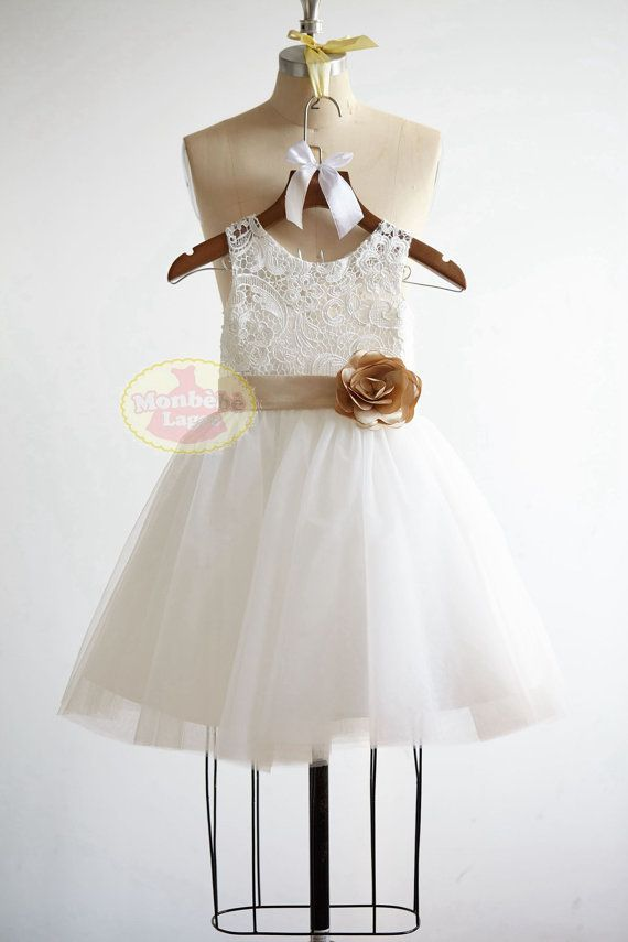 Ivory Lace Tulle Flower Girl Dress Junior by MonbebeLagos on Etsy ...
