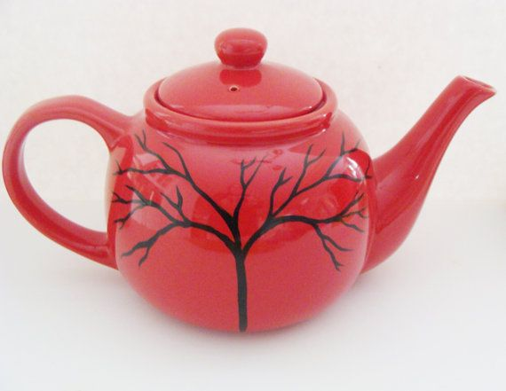 Tree on Red Teapot Hand Painted by CANADIANCREATIONZ on Etsy