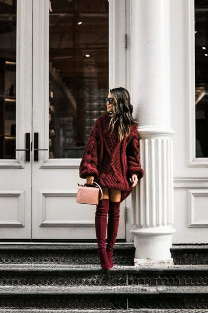 Dress  tumblr sweater oversized sweater oversized cable knit chunky knit  bag pink bag boots burgundy 3834de51b