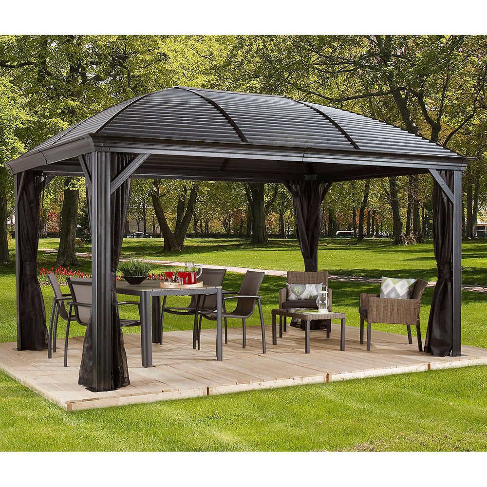 Pergolas And Gazebos Free Standing Kits Outdoor Metal Roof