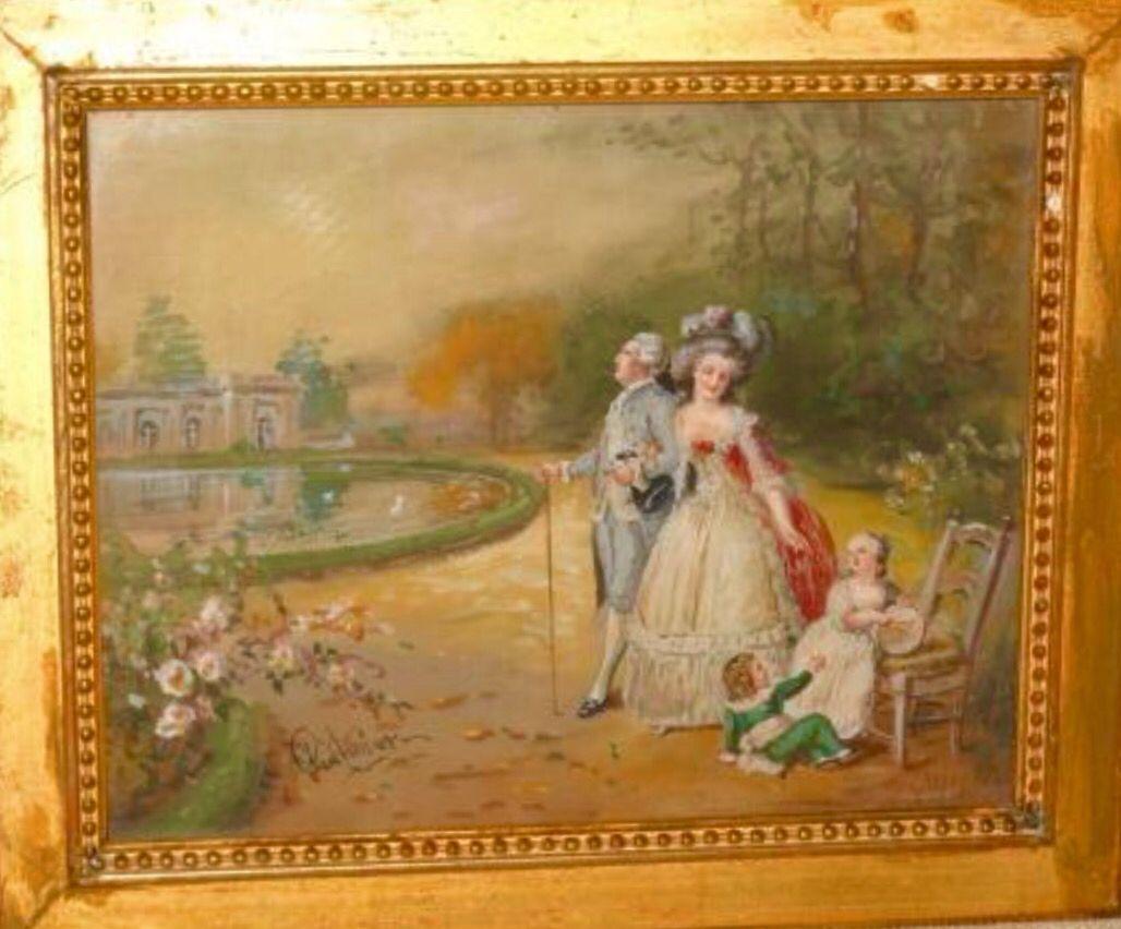 Luis XVI ,María Antonieta y sus hijos paseando en los jardines del Gran Trianon.
