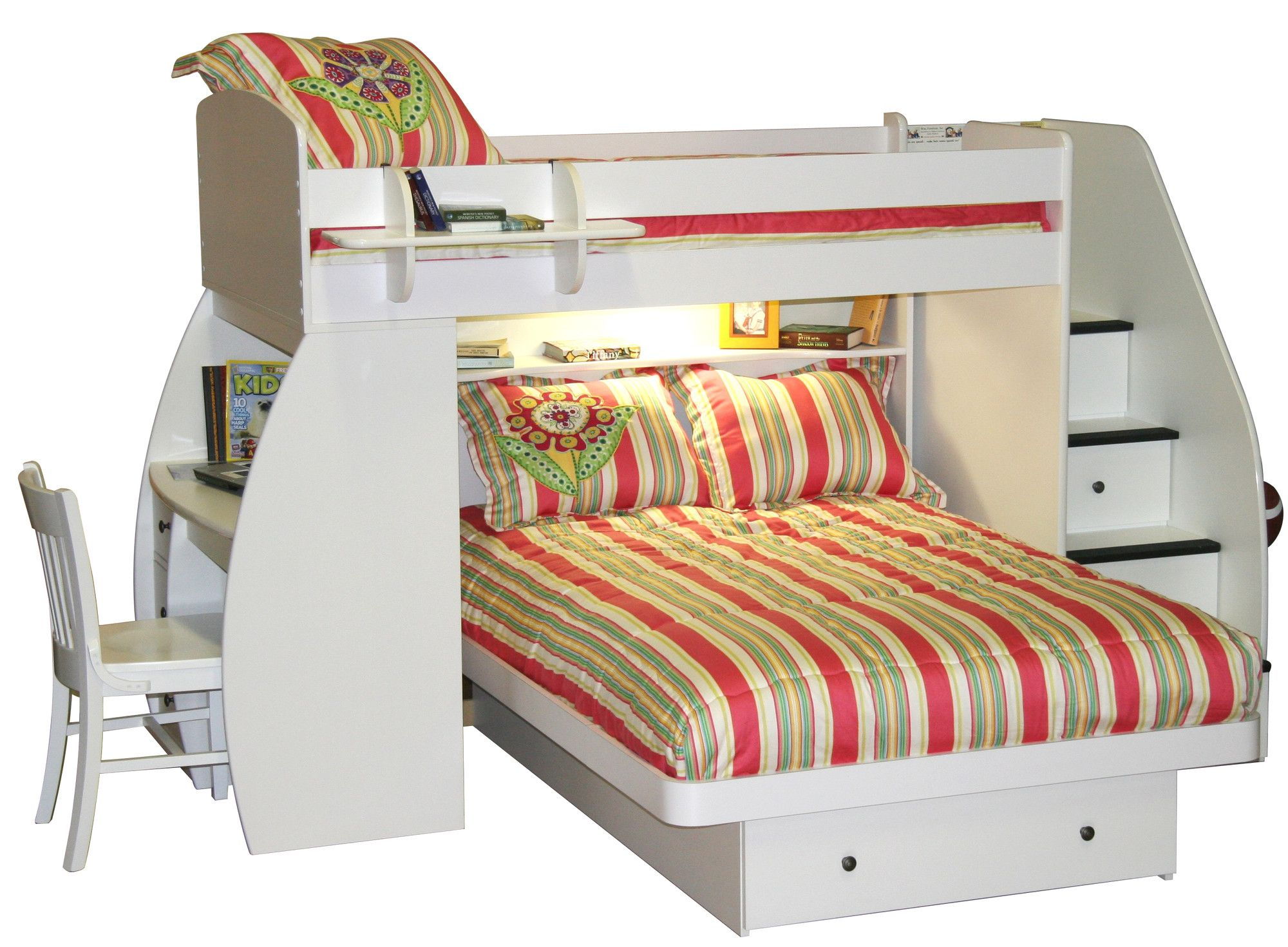 Berg Sierra Twin Over Full L Shaped Bunk Bed With Desk And Storage