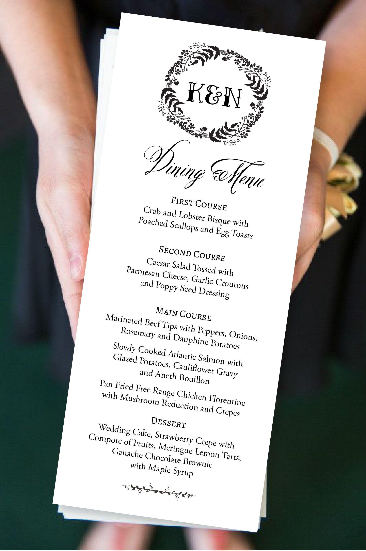 Editable digital menu printable elegant script wedding