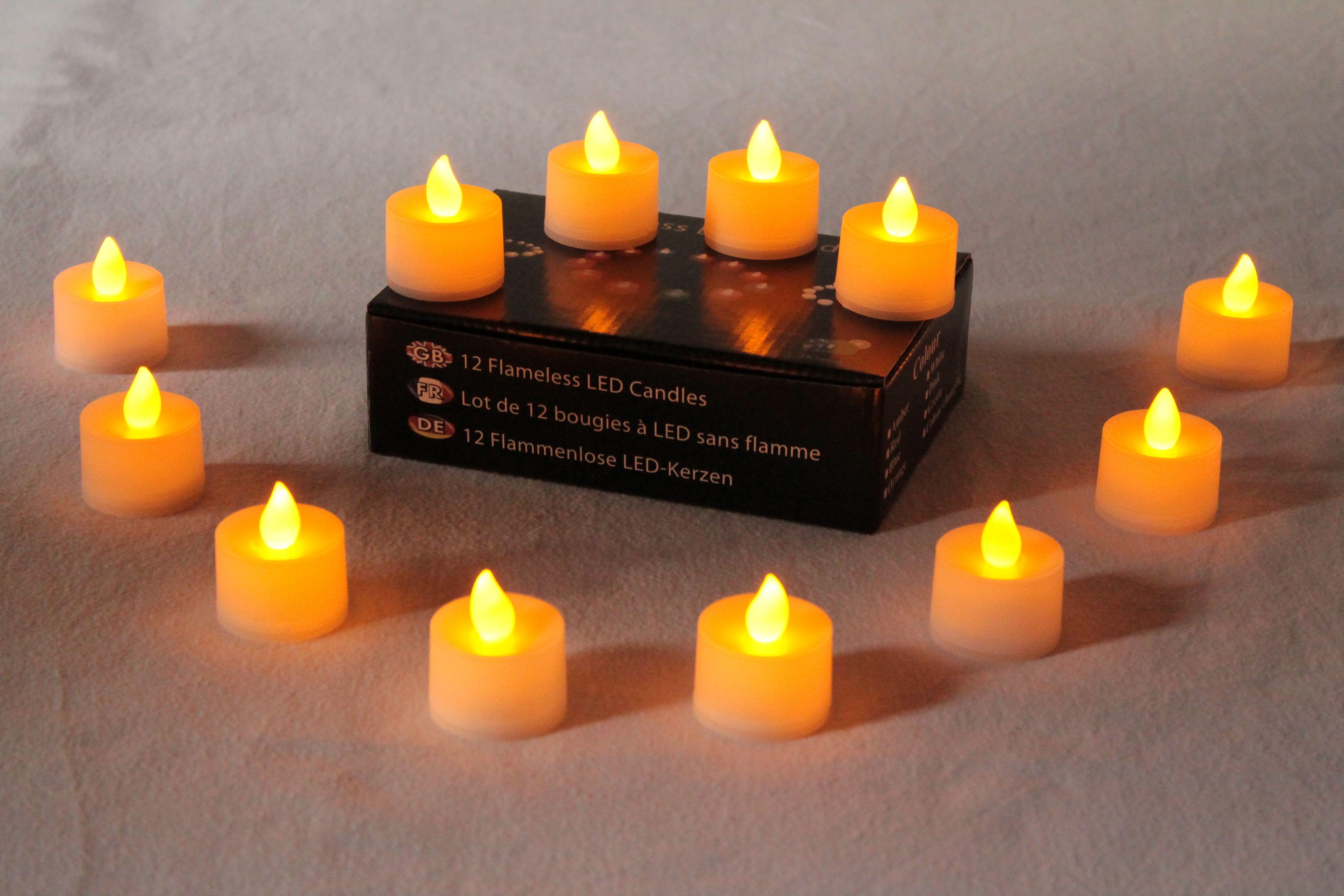 12 Diwali Diya Led Candles Deepawali Flickering Battery Tea