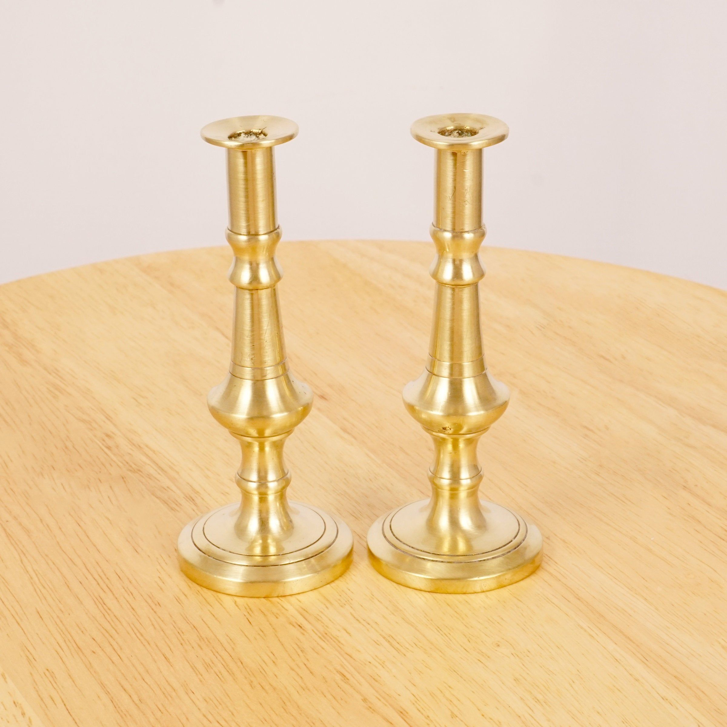 2 Candlestick Holders Candle Holder Vintage Solid Brass