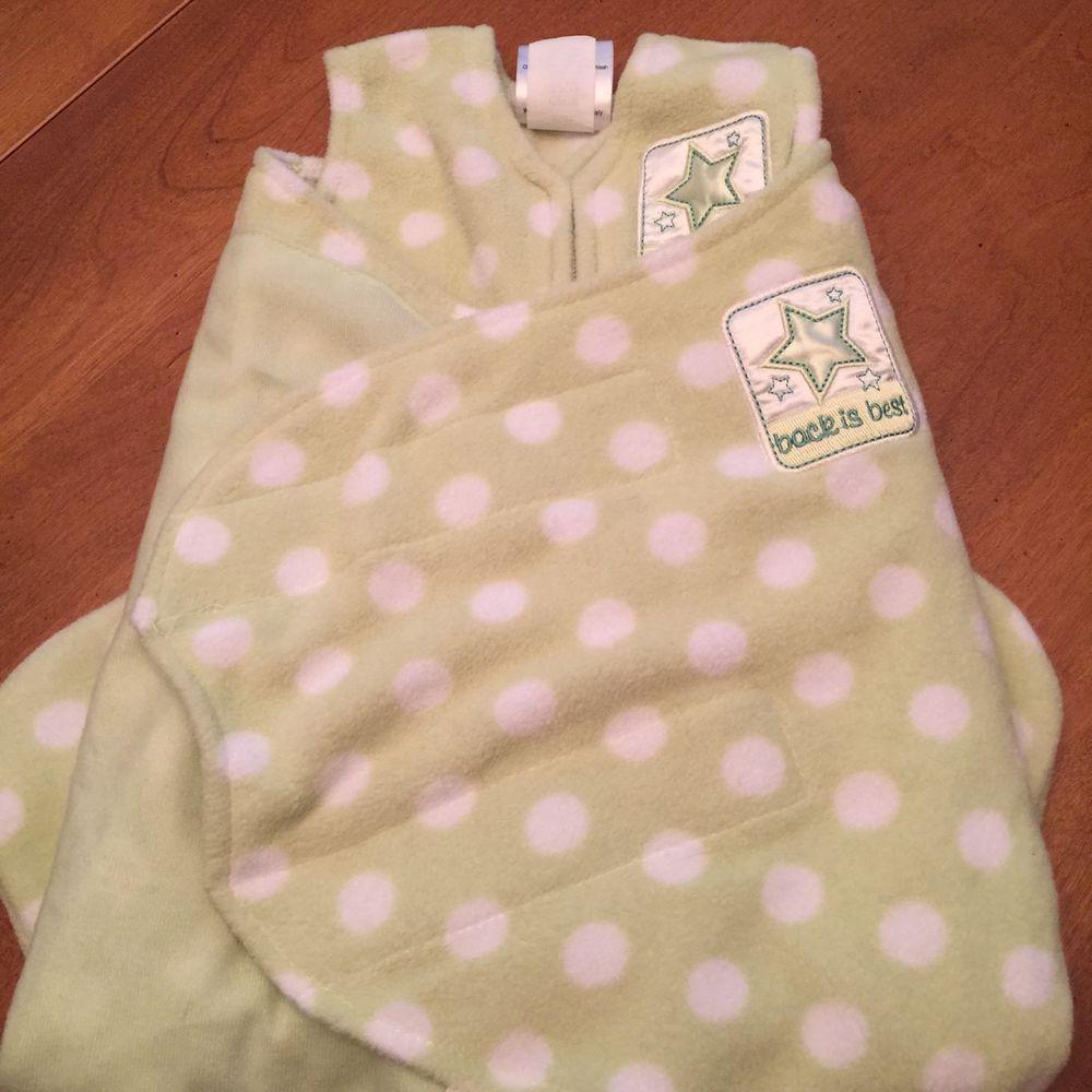 Halo sleepsack microfleece swaddle green polkadot newborn