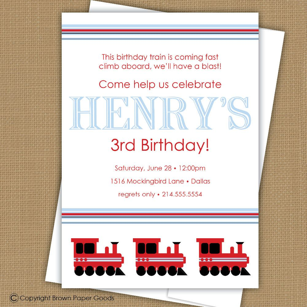 All American Train Party Collection-- Printable Invitation | Trains ...