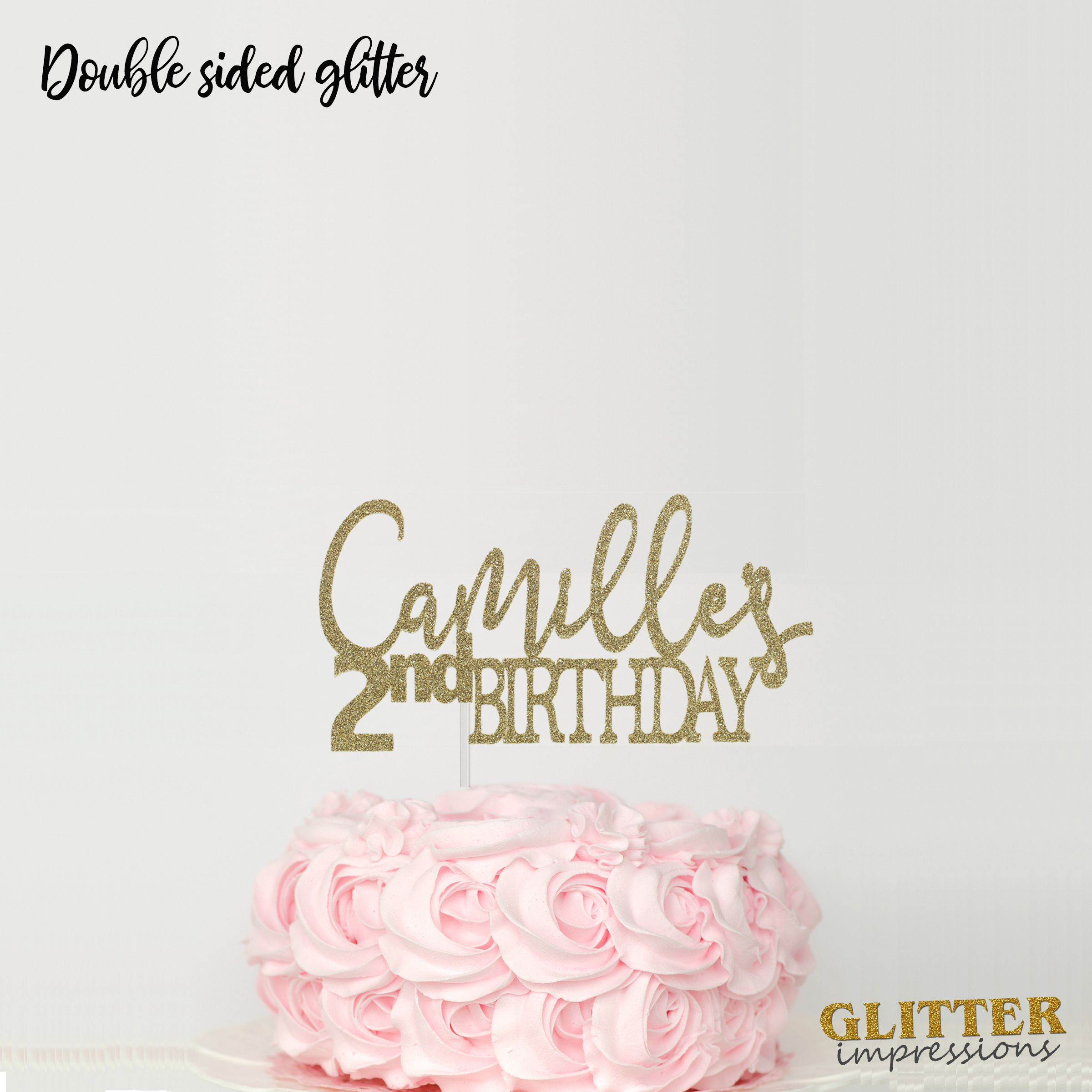 Personalized Name Birthday Cake Topper Cursive Font Glitter Sparkly