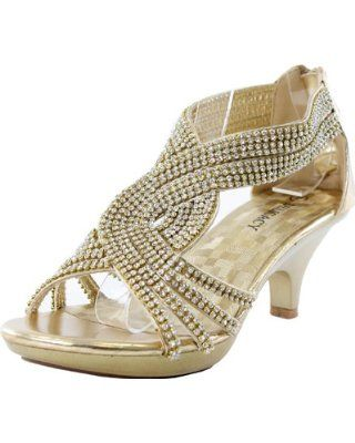 d2b95d123a648d Delicacy Womens Angel-37 Strappy Rhinestone Dress Sandal Low Heel Shoes