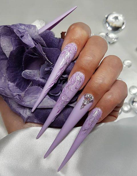 Domain Expired Long Nails Purple Nails Sharp Nails