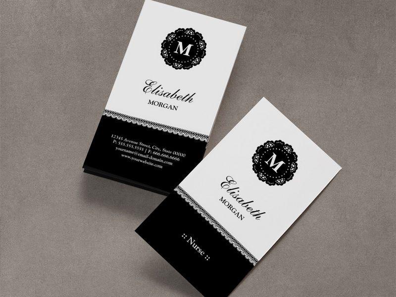 Nurse Elegant Black Lace Monogram Business Cards | Modern Business ...