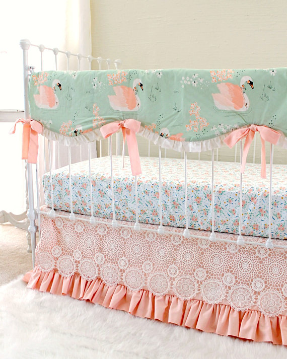 7df61af26 Peach Nursery Baby Crib Set Girls Crib Bedding, Swan Print Nursery ...