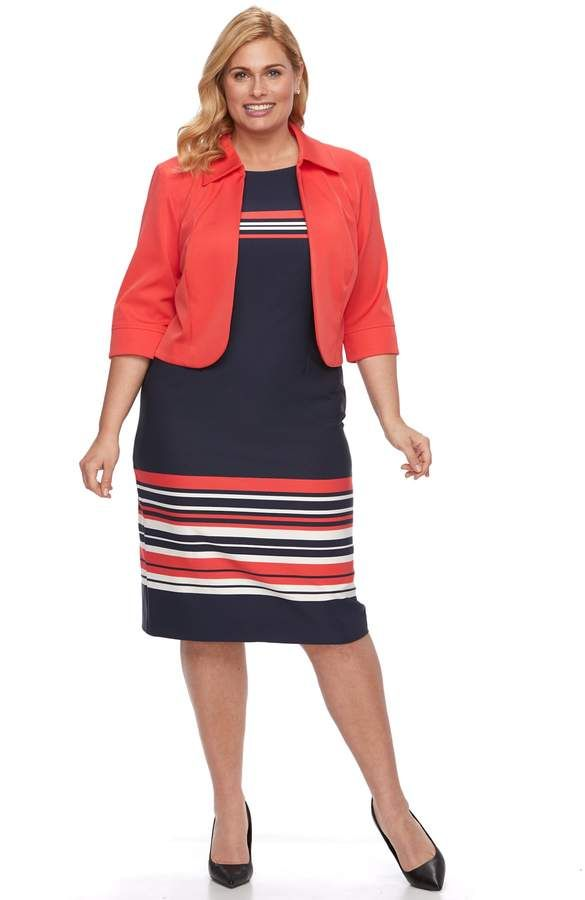 d15e9e82caa Plus Size Maya Brooke Striped Dress   Solid Jacket Set in 2018 ...