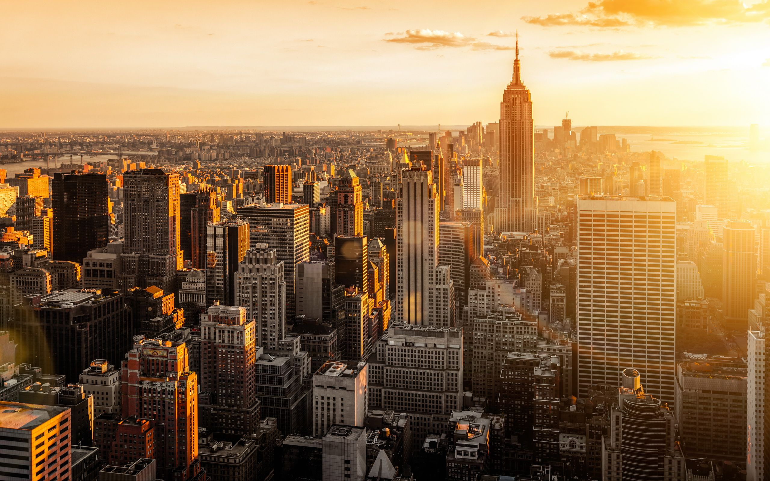 New York City Skyline Sunset Wallpaper Reiseziele