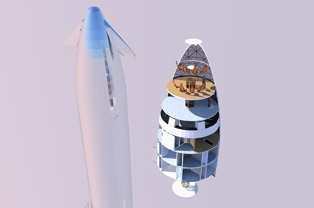 Speculative internal layout of SpaceX Starship by Michel Lamontagne ...