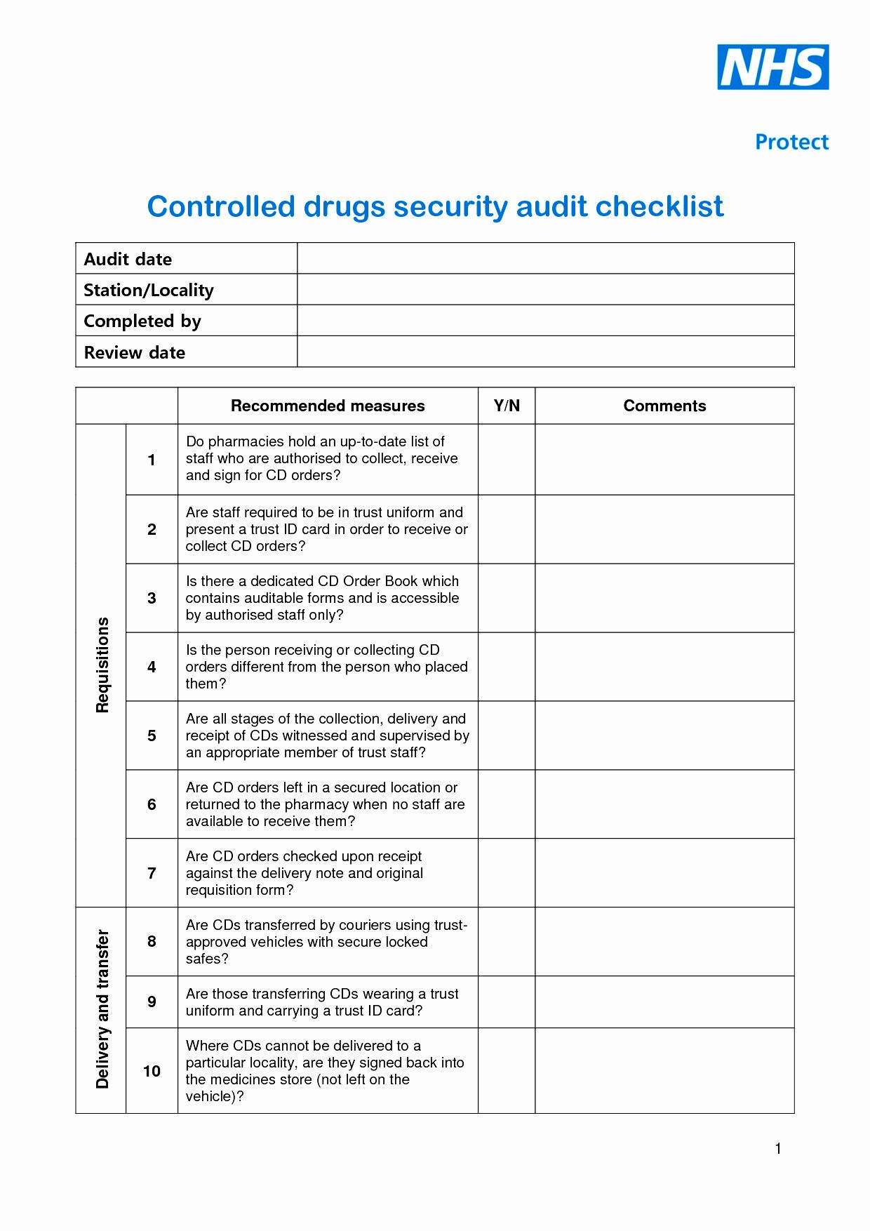 Physical Security Inspection Checklist Lovely 28 Of Blank Security Checklist Template Security Audit Security Report Report Template