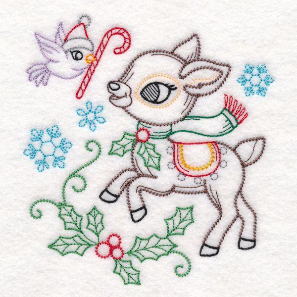 Playful Christmas Deer Vintage Design M16842 From Emblibrary