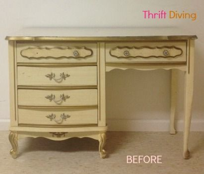 How to Paint Your Old French Provincial Furniture - Metallic Gold Stripe Adds Drama To Bedroom Furniture Gold Spray