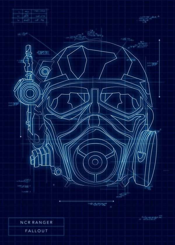 Ncr ranger by popculart video game protagonist helmet blueprints video game protagonist helmet blueprints fallout ncr ranger displate artwork by artist mr jackpots part of a 16 piece set featuring designs based on malvernweather Images