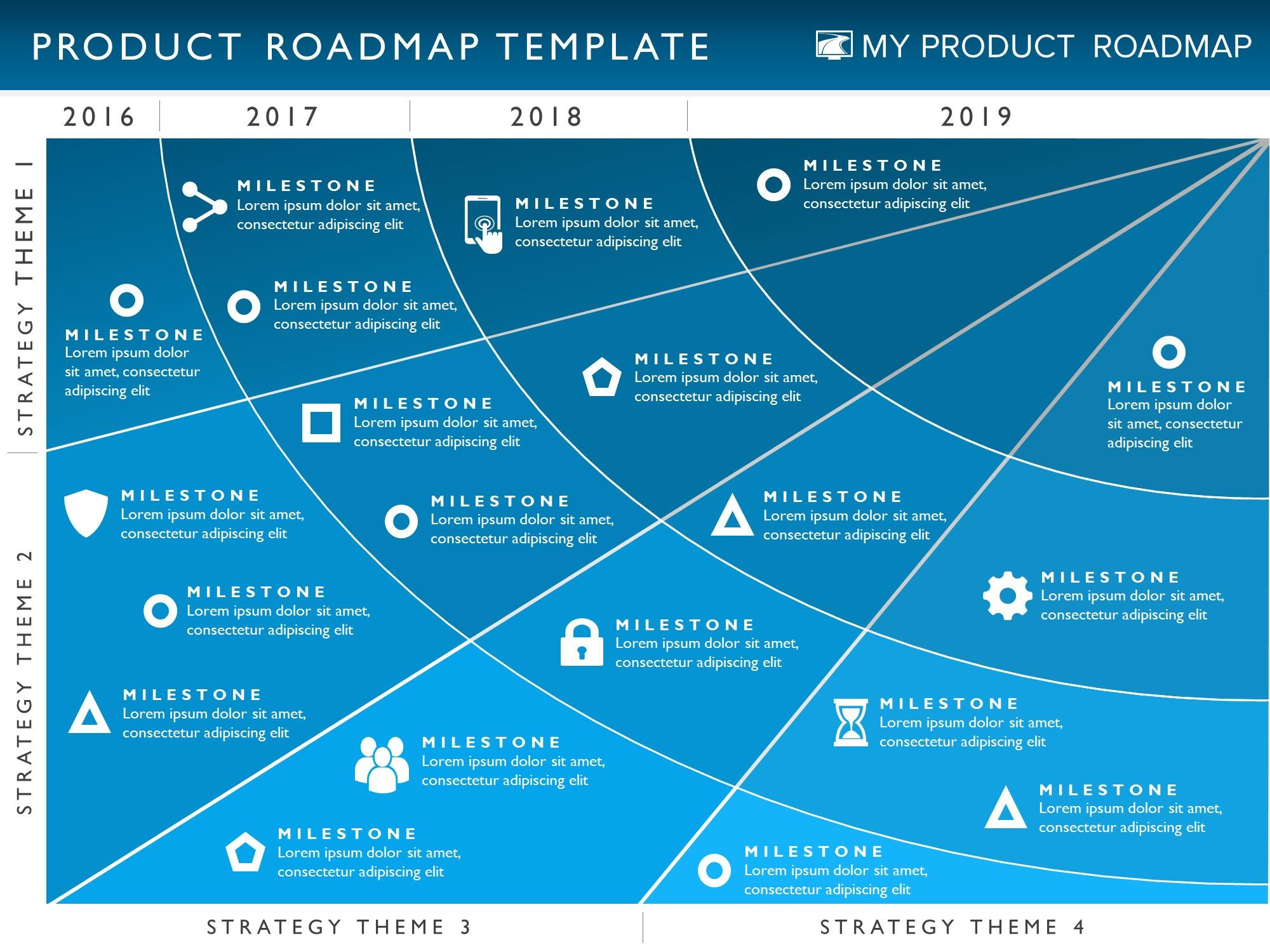 Four phase product strategy timeline roadmap powerpoint for Strategy map template xls