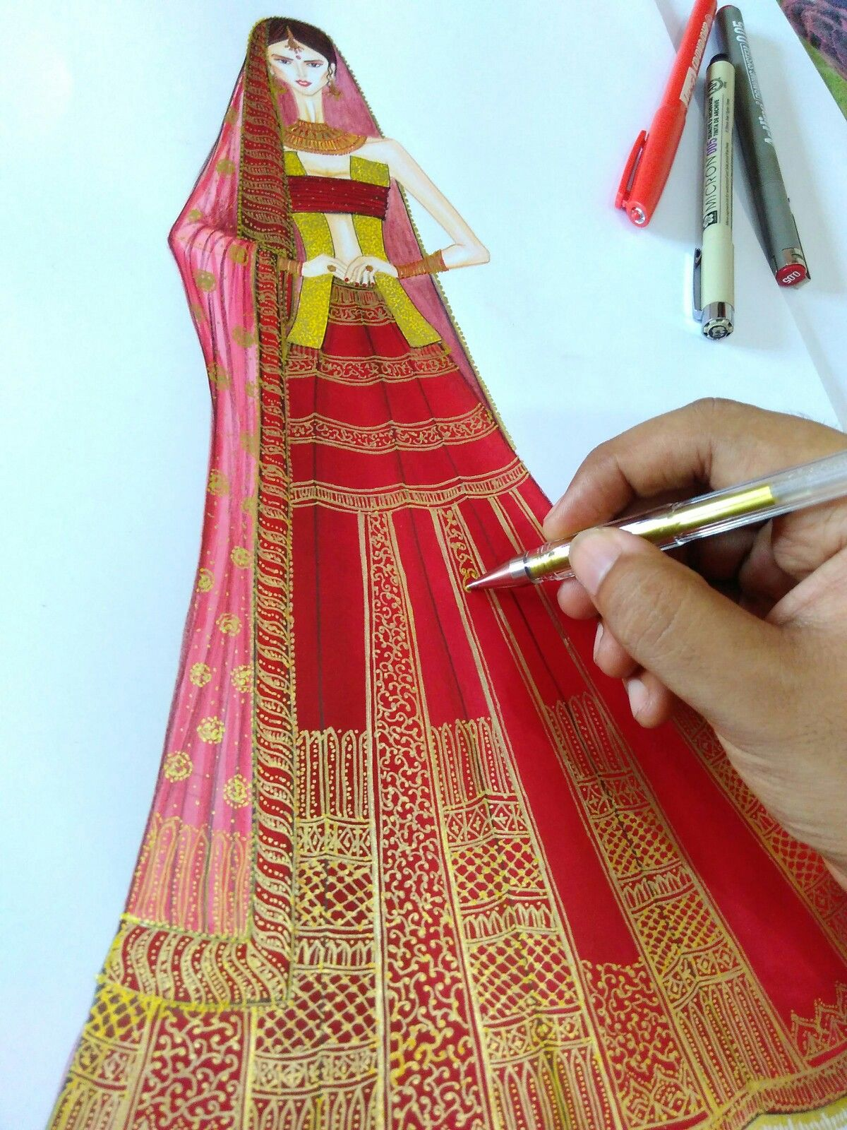 Beautiful Indian Bridal Wear Fashion Illustration In Process Work Designed Fashion Illustration Sketches Fashion Design Sketchbook Illustration Fashion Design