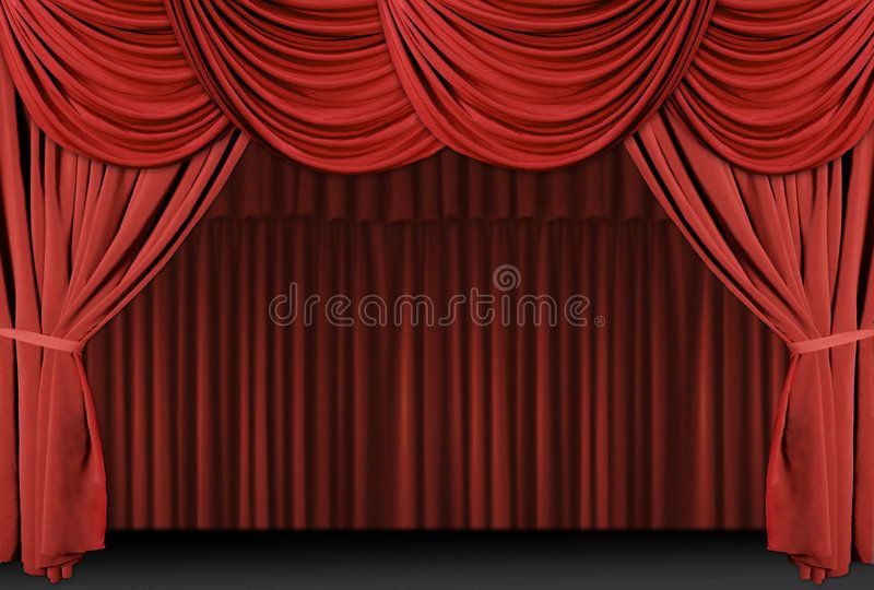 Red Draped Stage Curtains. Old fashioned, elegant theater stage with velvet curt ,