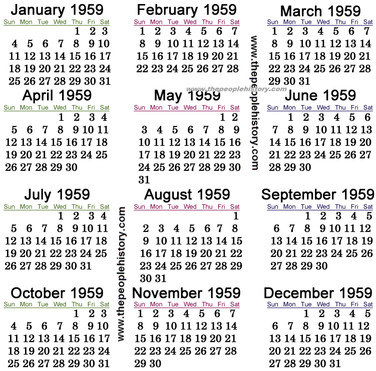 1959 Calendar.What Happened In 1959 Including Pop Culture Significant Events Key