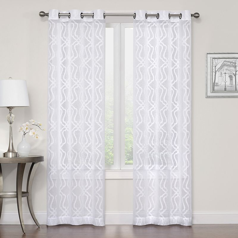 Regal Home Collections 2 Pack Asbury Clipped Sheer Curtain White