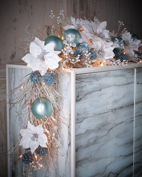 Ice Blue Silver Pre Lit 6 Christmas Garland Christmas Teal