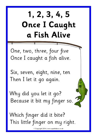 1, 2, 3, 4, 5, Once I Caught a Fish Alive song sheet