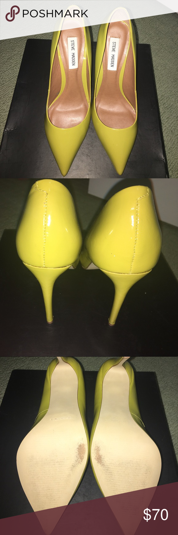 Steve Madden pointed toe PROTO Gently used Steve Madden yellow leather PROTO box included Steve Madden Shoes Heels