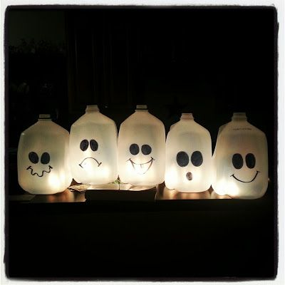 milk carton ghosts can also use battery operated votive candles instead of a string of - Milk Carton Halloween Ghosts