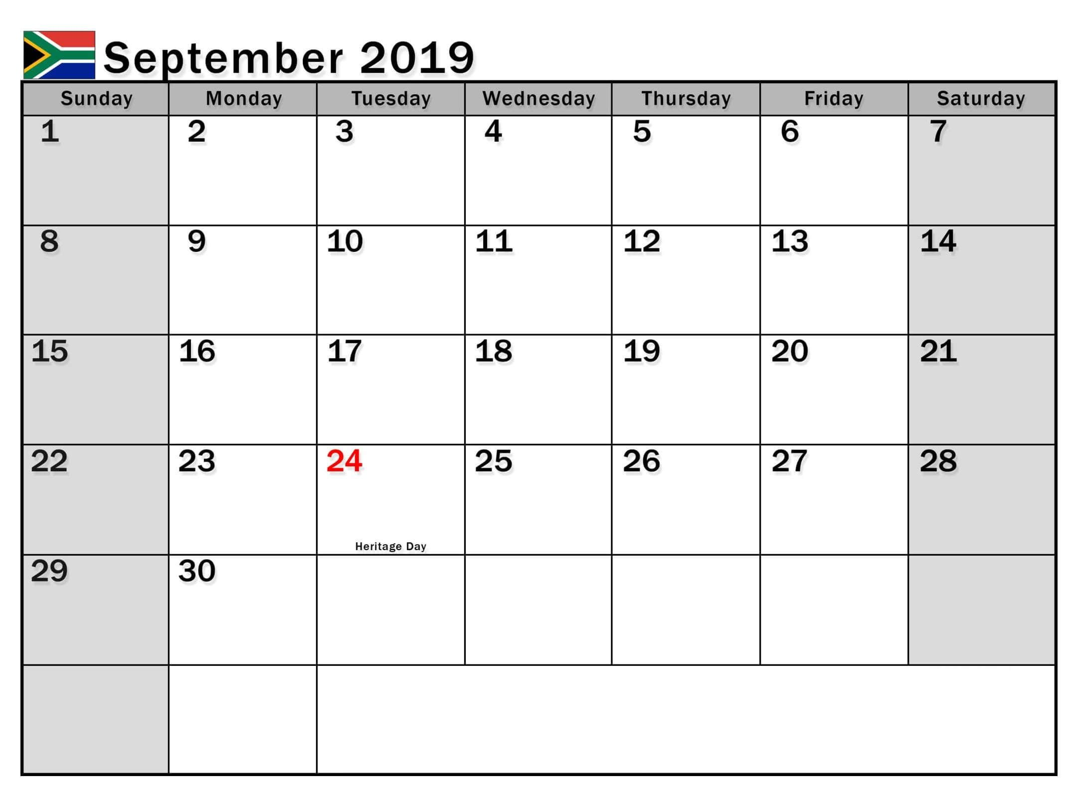 September 2019 Calendar With Holidays Holiday Calendar Holiday
