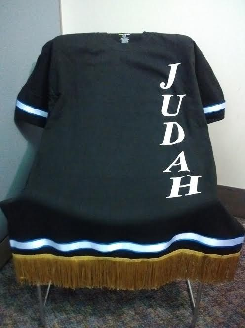 19bfd1f90d6 Black Hebrew Garment w Gold Fringes   Royal Blue Ribbon by  AllThatKreationsLLC on Etsy
