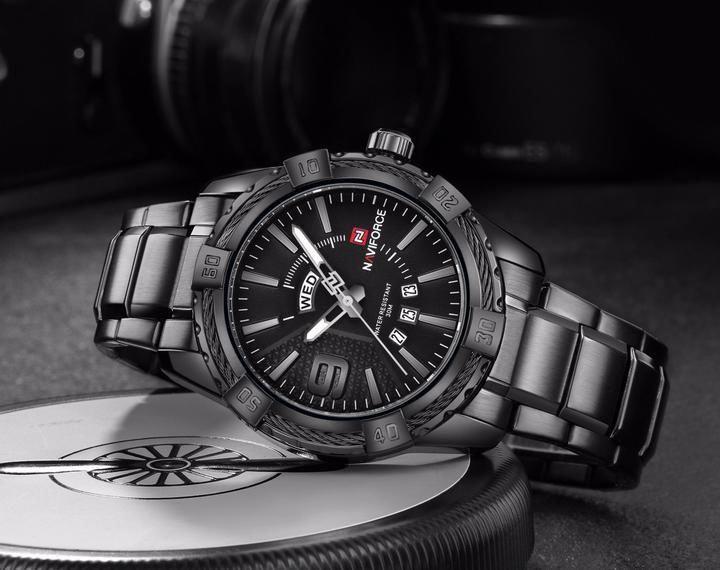 fde1b920a9f NAVIFORCE Luxury Brand Mens Sport Watch Gold Full Steel Quartz Watches Men  Date Waterproof Military Clock