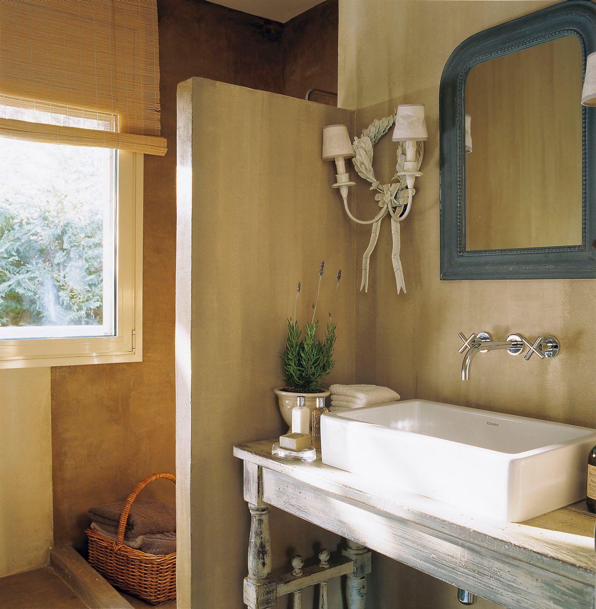 Ba o r stico con murete de ducha lavamanos exento for Lavamanos rusticos de madera