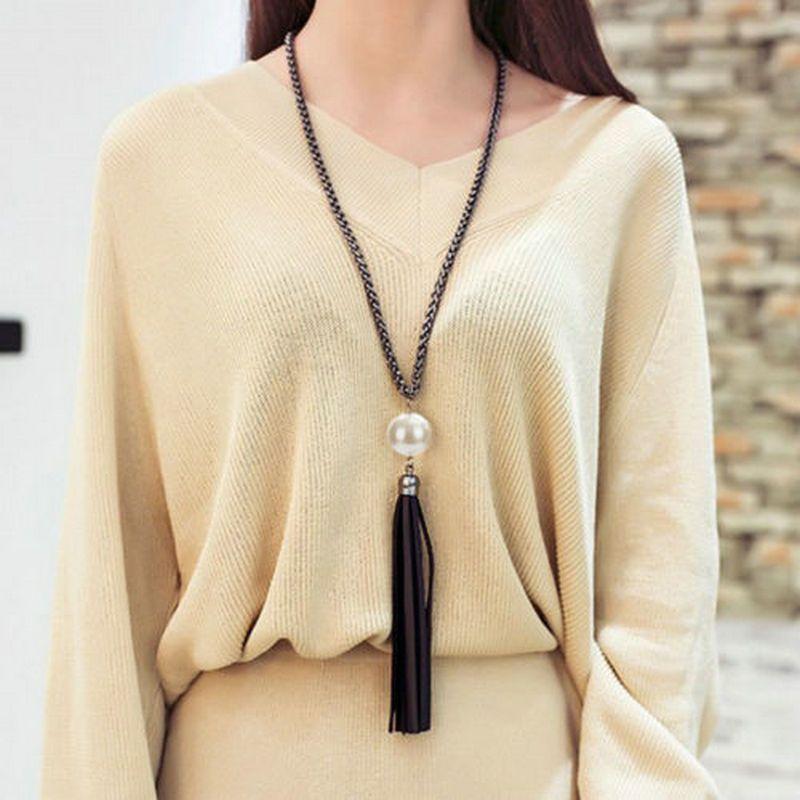 6562fee50bd1 Cheap 2016 nueva moda Charm imitación perla colgante borlas de cuero grande cadena  larga pendiente del suéter mujer collar de la joyería P1367