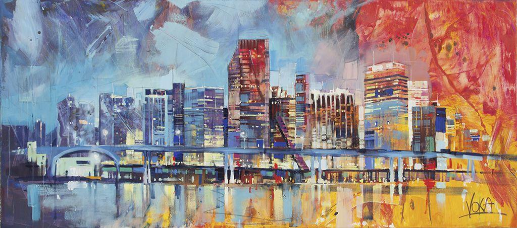 Miami 250x110cm 98 43x43 31 Inch Acrylic On Canvas Voka Art Cityscape Painting Landscape Paintings