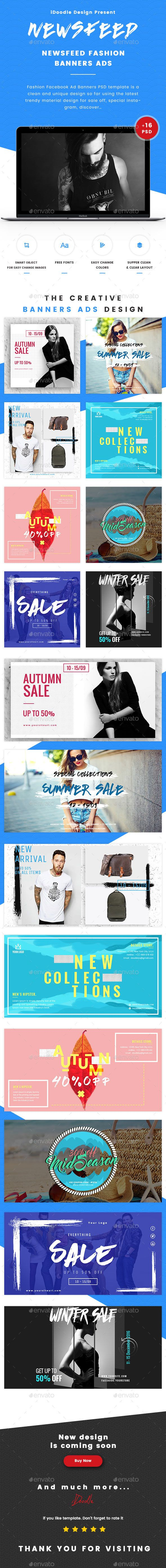 Fashion Facebook Ad Banners PSD Size Each Banners Ads - Facebook ad size template