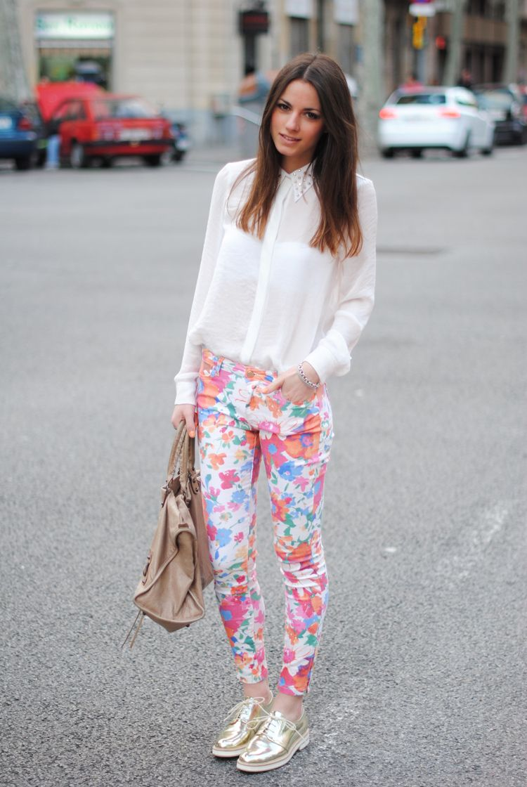 floral pant + studded collar