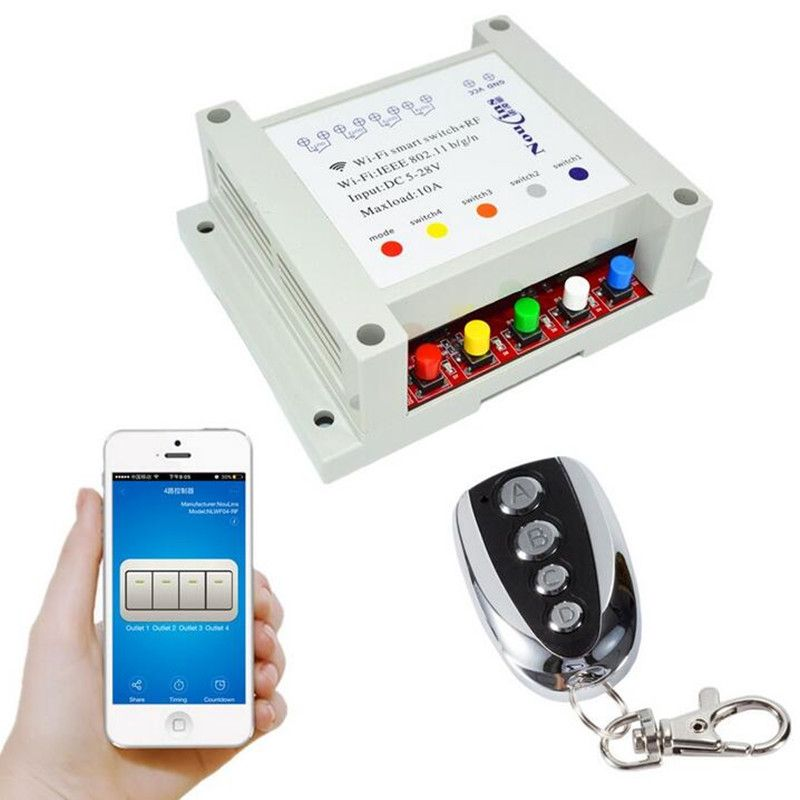 4CH 12V Smart WIFI Switch Remote Control Light Switches 5-28V Timer ...
