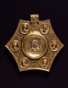 e12934d0bdf Hexagonal Pendant with Double Solidus of Constantine I Early Byzantine  Medallion  321  Pendant  ca. 370-390